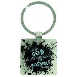 PORTE-CLES METAL WITH GOD EVERYTHING IS POSSIBLE